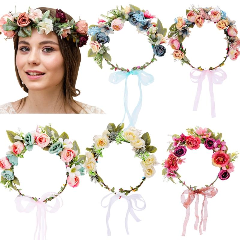 Женский цветочный венок с лентами, Свадебный венок для волос с цветочной короной, аксессуары для волос для беременных