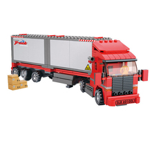 Sluban model building kits compatible with Legoingly city truck 520 3D blocks Educational & toys hobbies for children