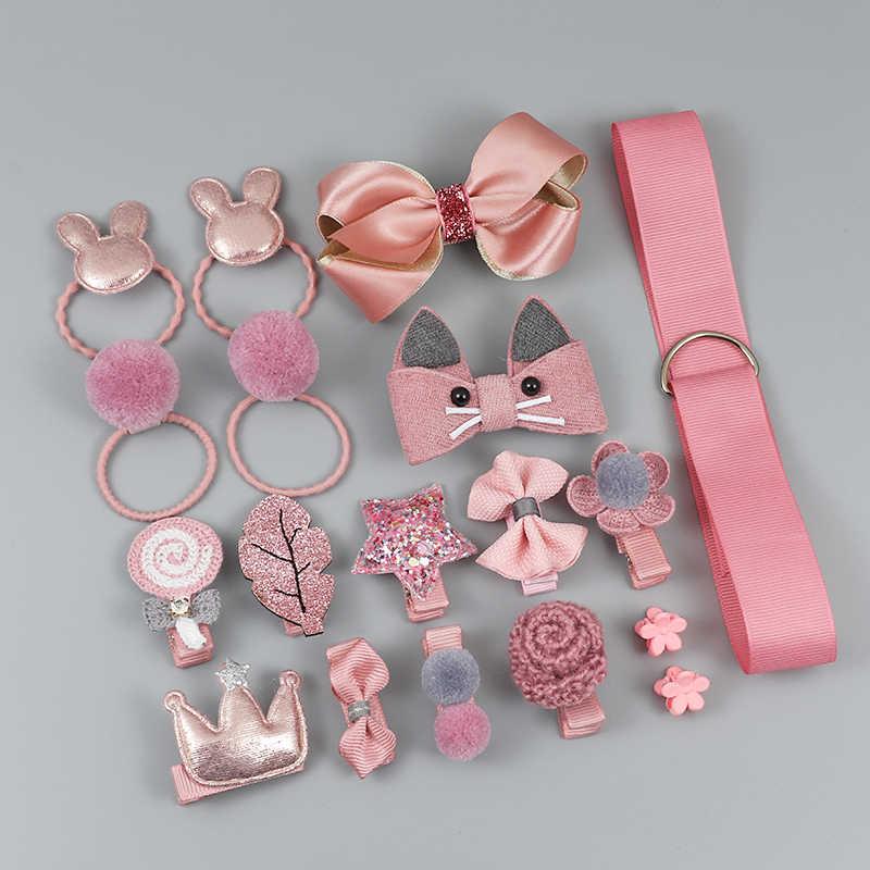 Lot de 18 pièces accessoires à cheveux pour filles, couvre-chef élastique, motif de dessin animé, avec nœud fleur, épingles à cheveux, cadeau