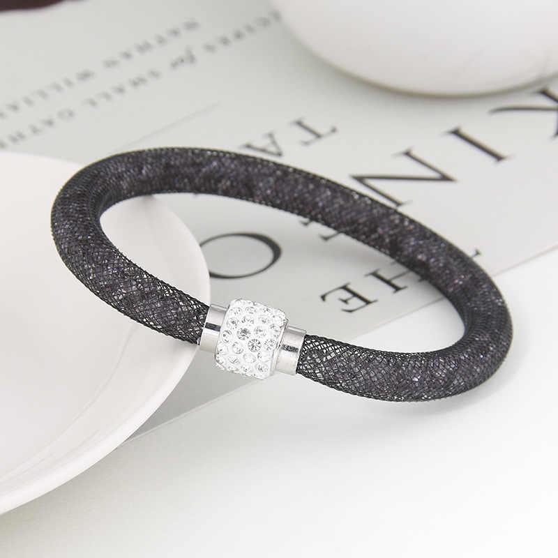 トレンディ単層磁気バックルメッシュ水晶のブレスレット