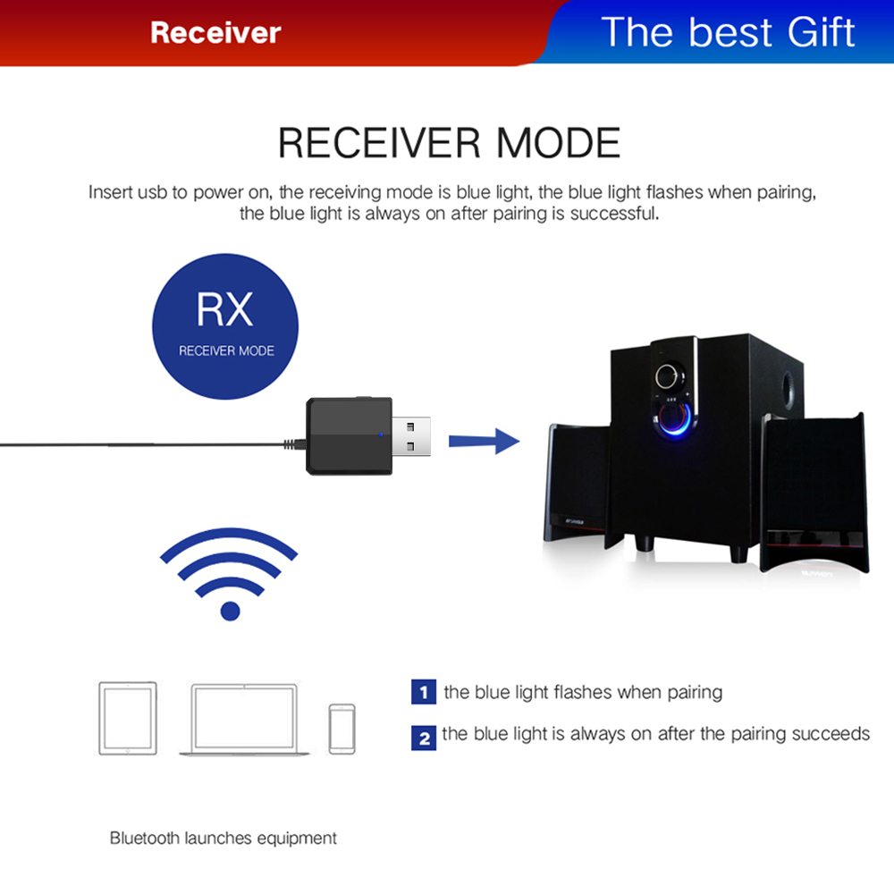 Image 5 - KEBIDU 3 IN 1 Bluetooth Transmitter Receiver Wireless Bluetooth 5.0 Adapter Mini 3.5mm AUX Stereo For Car Music For TV Newest-in Wireless Adapter from Consumer Electronics