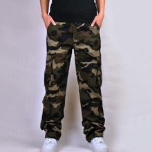High Quality New Fashion Mens Cotton Camouflage Casual Loose Military Pockets Cargo Pants For Man Plus Size Army Green Pant(China)