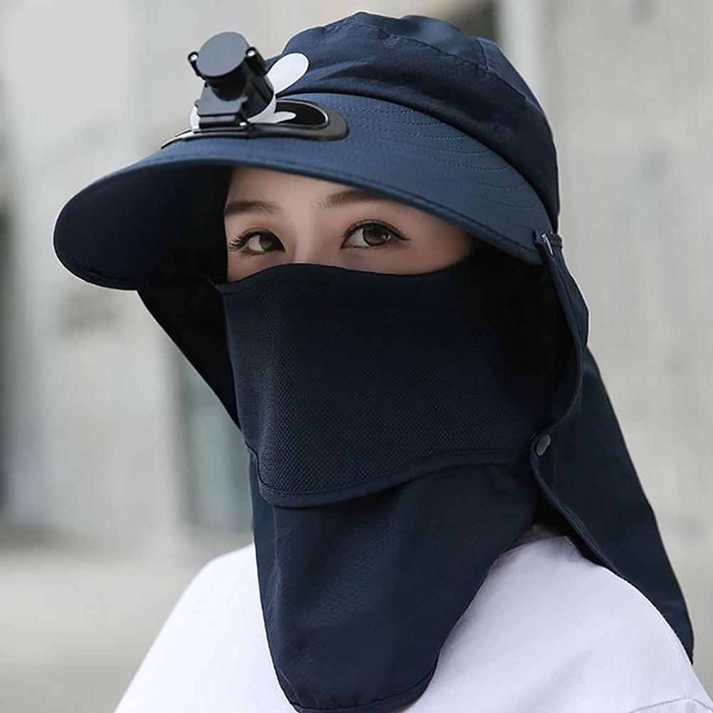Summer Detachable Outdoor Anti-Sun Cap Neck Face Flap Wide Brim Hat With Fan Face Protector Outdoor Sombrero De Proteccion