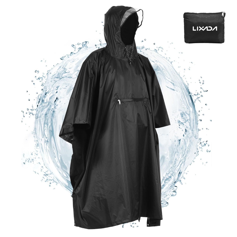 Lixada Multifunction Raincoat Military Impermeable Waterproof Rain Coat Men Women Outdoor Camping Fishing Motorcycle Rain Poncho
