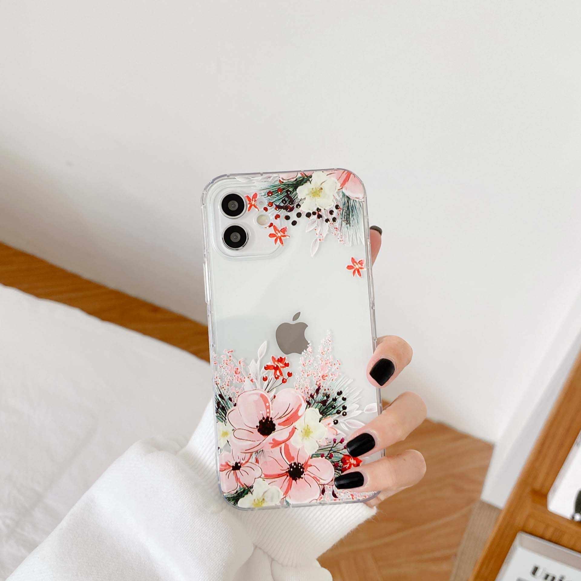 Custodia per telefono in silicone trasparente con fiori di ciliegio e petalo di margherita cover carina per iphone 12 mini xr xs max x 11 pro max 7 8 ...