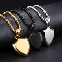Men Titanium Steel Triangular shield Pendant Necklace so232