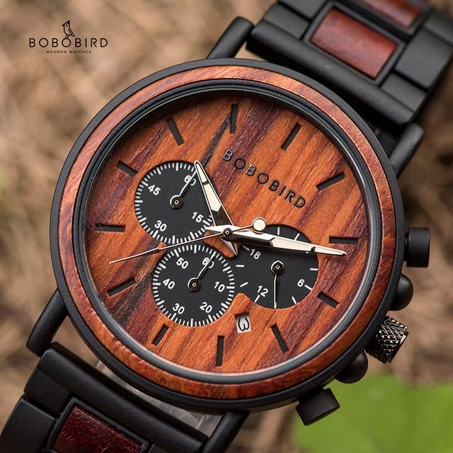 בובו ציפור עץ גברים שעון יוקרה אופנתי עץ שעונים הכרונוגרף צבאי קוורץ שעונים בעץ אריזת מתנה relogio masculino