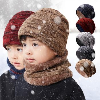 Gorący sprzedawanie czapka zimowa czapka zestaw szalików ciepłe czapki z dzianiny czapka z czaszkami z grubym podszyty polarem czapka zimowa i szalik dla dzieci dzieci tanie i dobre opinie CN (pochodzenie) Chłopcy Pasuje prawda na wymiar weź swój normalny rozmiar Windproof COTTON boys girls dropshipping