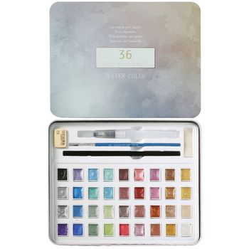 36 colors art solid pigment professional box with paintbrush portable set portable colored pencils for drawing paint watercolors 36 Colors Glitter Solid Watercolor Set Portable Hand-painted Watercolor Paint Pigment with Paint Brush for Drawing Art Supplies