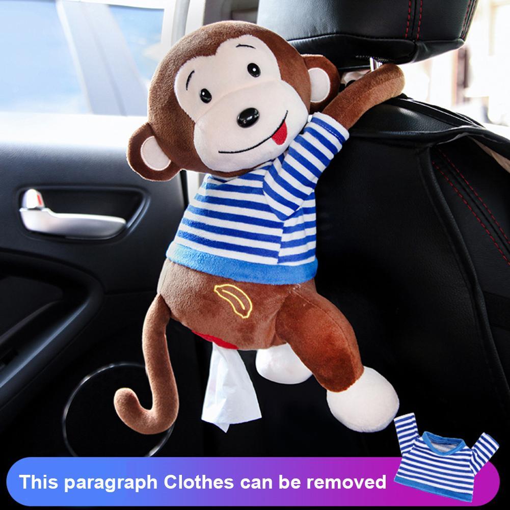 Car Interior Accessories Hanging Paper Napkin Tissue Box Creative Cartoon Plush Monkey Home Office Paper Box Pillow