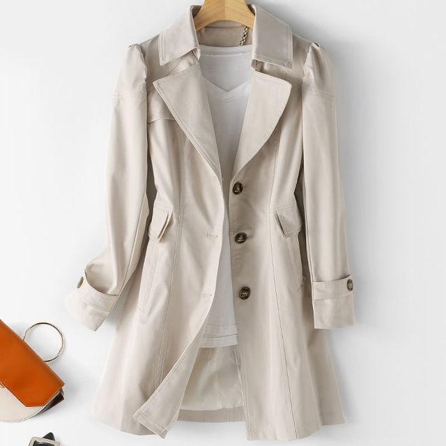 FTLZZ New Autumn Women Khaki Long Trench Coat Casual Female Streetwear Slim Fit Korean Style Windbreaker Single Breasted Outwear 5