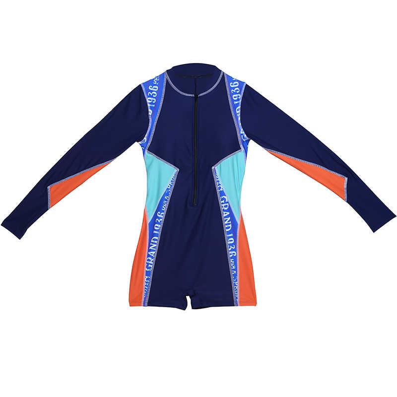 Костюм для плавания лоскутный с длинным рукавом, спортивная одежда для плавания, костюм для серфинга на молнии, короткий боди для мальчиков, летняя пляжная одежда, гидрокостюм