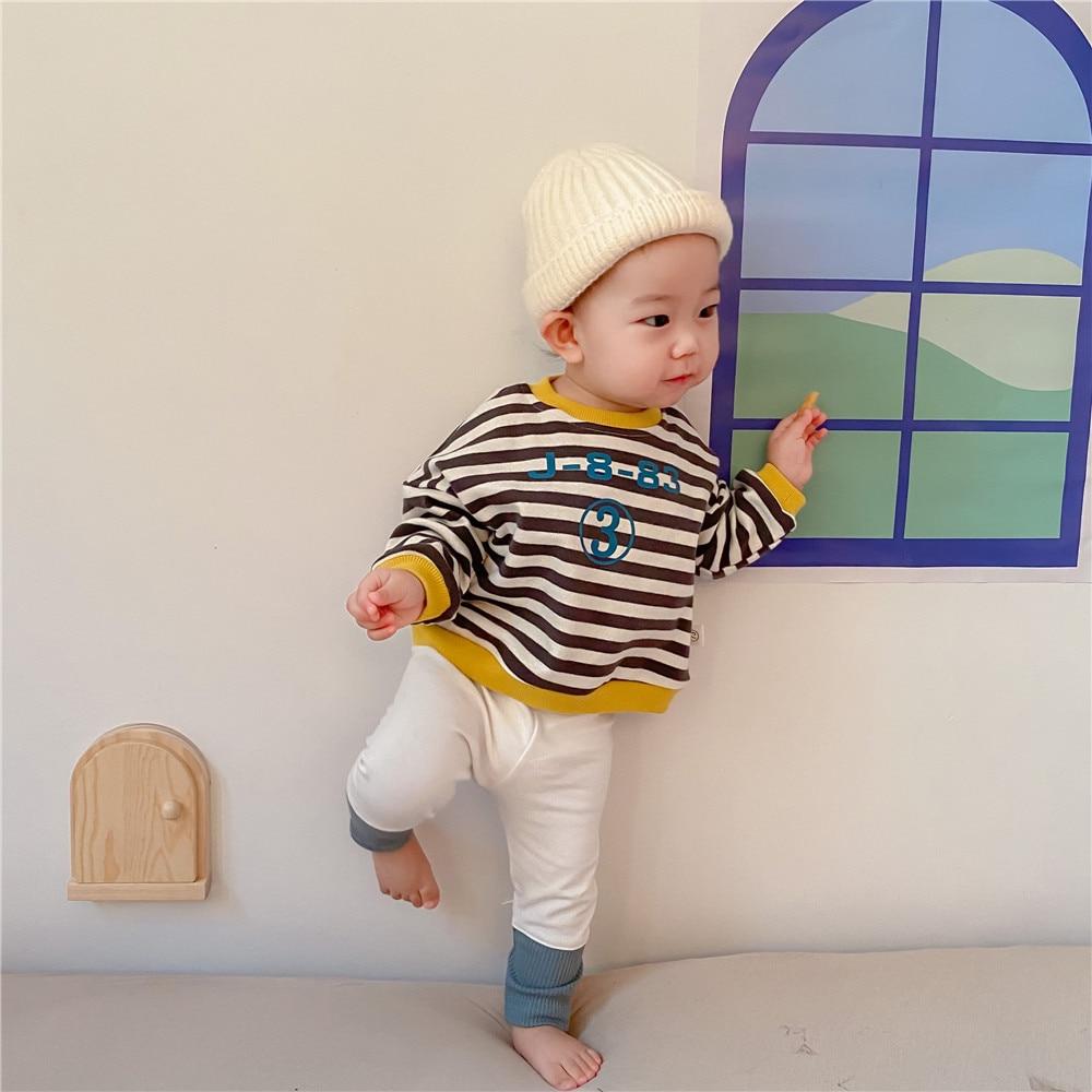 Spring New Baby Girls Sweatshirts Set Long Sleeve Tops + Pants Kids Toddler Boys Pullover Stripe Sweatshirt T-shirt Clothes Set 2