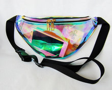 womens holographic belt bag hologram waist bag/fanny pack, clear pvc fanny pack