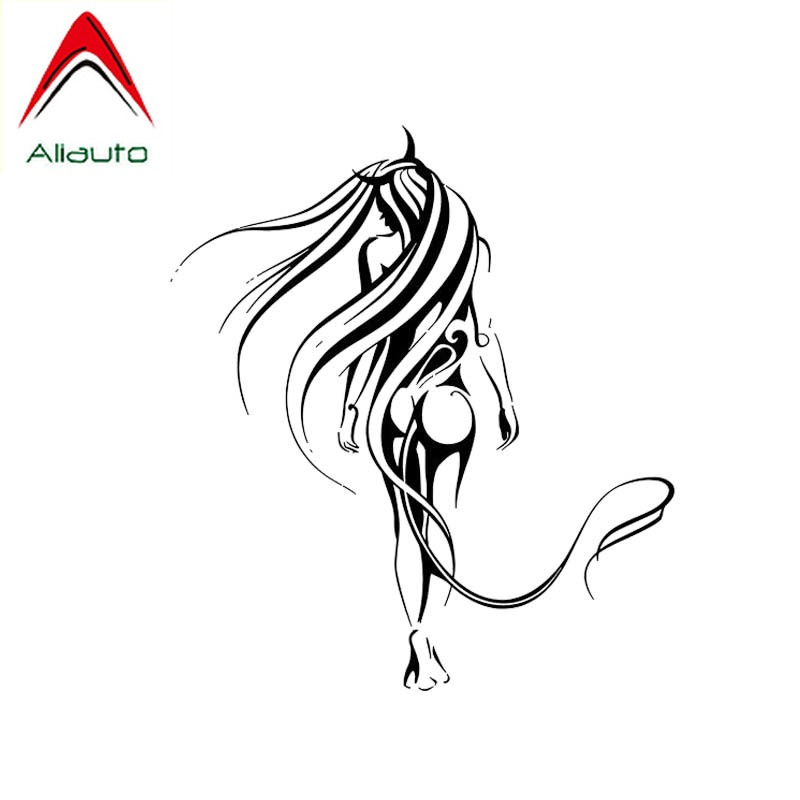Aliauto Fashion <font><b>Car</b></font> Sticker Artistic <font><b>Figure</b></font> <font><b>Sexy</b></font> Girl Covering The Body Popular Design Vinyl Decals Black/Silver,11cm*13cm image