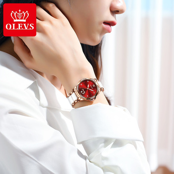 New Fashion OLEVS Luxury Brand Women Mechanical Watch Ceramics Watch Strap Automatic Mechanical Watches for Women Gift for Women 3