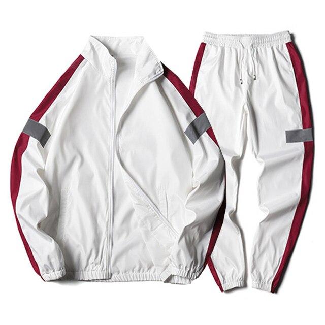 Men's Set Fashion Sports Men Sweatsuit Hip Hop Fitness Clothing Two Pieces Sweatshirt Sweatpant Male Tracksuit Black White Grey 4
