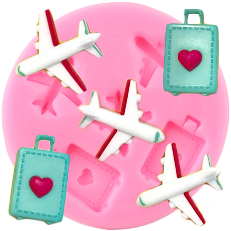 Travel Airplane Luggage Silicone Mold DIY Party Cupcake Topper Fondant Cake Decorating Tools Candy Clay Chocolate Gumpaste Molds|Clay Extruders|   - AliExpress
