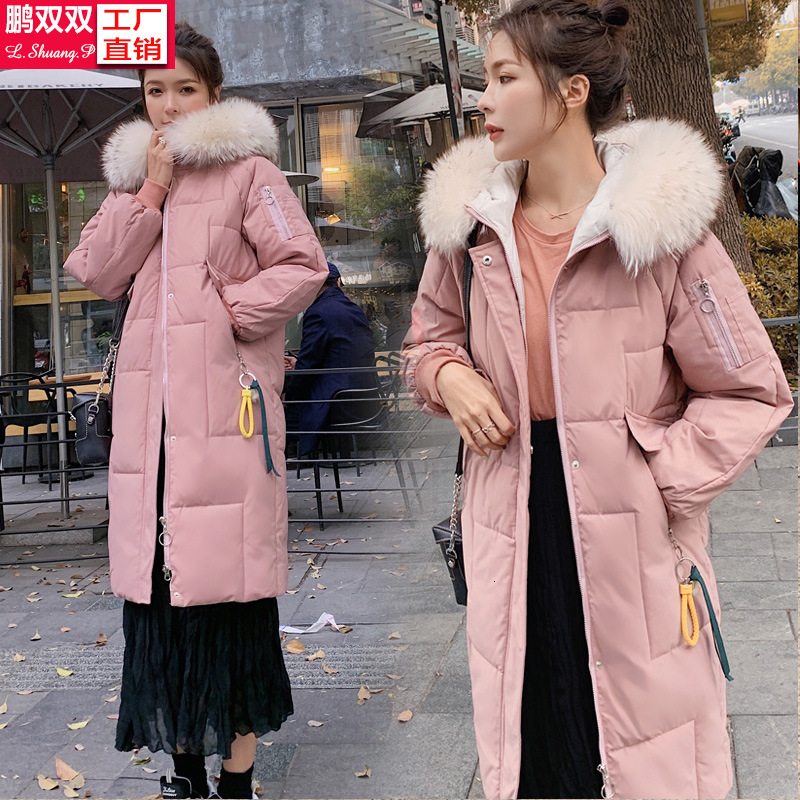 Cotton-padded Clothes Girls Long Fund 2019 Winter Heavy Seta Lead Bread Serve Easy Bf Student Cotton Tide Loose   Coat