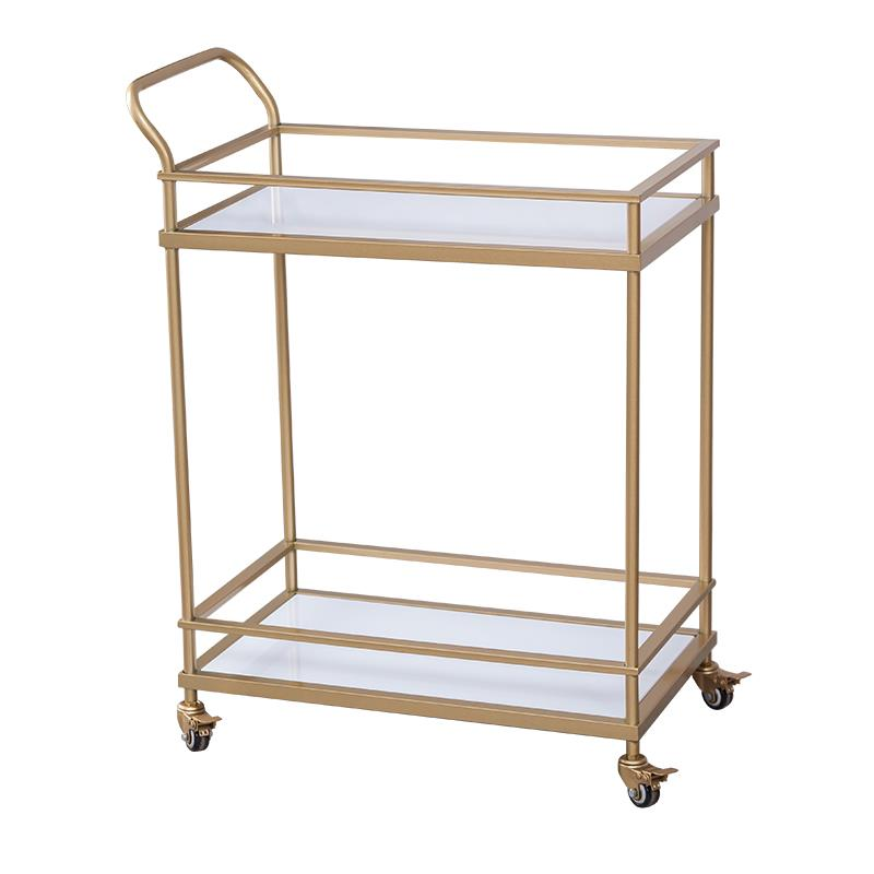 European Golden Hotel Restaurant Drinks Trolley Moving Eat Edge Tea Cake Trolley Carts Creative Car