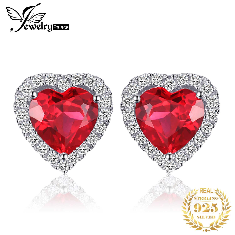 أقراط JPalace على شكل قلب مرصعة بالياقوت 925 أقراط من الفضة الإسترليني للنساء أقراط كورية من الأحجار الكريمة مجوهرات الأزياء 2020