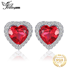 3.51ct Heart Pigeon Blood Red Ruby Stud Earrings Women Romantic Wedding Set Fine Jewelry 925 Solid Sterling Silver 2015 New