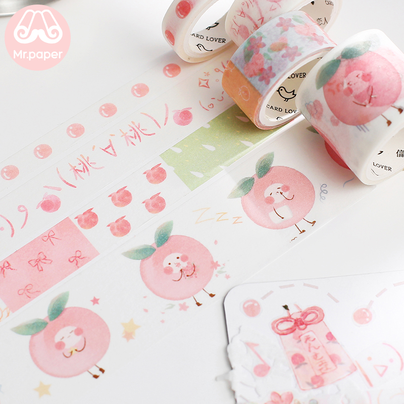 Mr Paper 4pcs/box 4 Designs Pink Sweet Decilious Peach Bullet Journaling Washi Tapes Scrapbooking DIY Decoration Masking Tapes