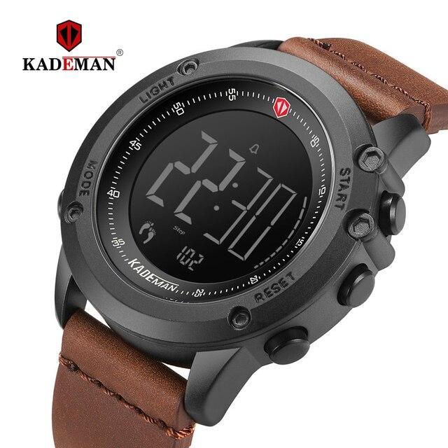 KADEMAN Militär Sport herren Uhr Digital Display Wasserdichte Schritt Zähler Leder Uhr Top Luxus Marke LED Männlichen Armbanduhren