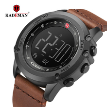 KADEMAN Military Sports Mens Watch Digital Display Waterproof Step Counter Leather Clock Top Luxury Brand LED Male Wristwatches