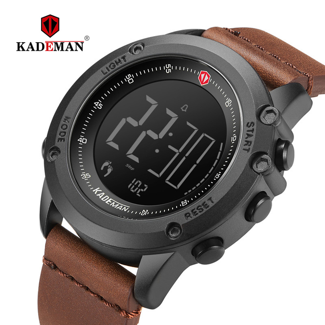 Kademan軍事スポーツメンズ腕時計デジタル表示防水ステップカウンター革時計トップの高級ブランドled男性腕時計