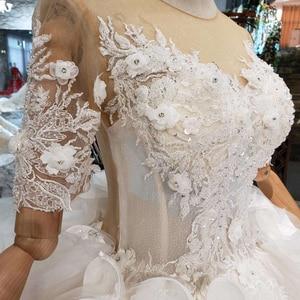 Image 4 - BGW HT567 Ruffle Style Wedding Dresses Like White Short Sleeves Illusion Back Zipper Luxury Handmade Ball Gown Wedding Gown 2020