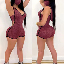 2020 Sexy Women Deep V-neck Hollow Out Jumpsuit Rompers Sleevless Hooded Bodycon