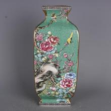 Qing Dynasty Qianlong Gold Painted Enamel Flowers And Birds Green Square Vases Antique Chinese Style Home Porcelain Ornaments