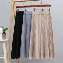 Женская трикотажная юбка свитер hlbcbg плиссированная миди в