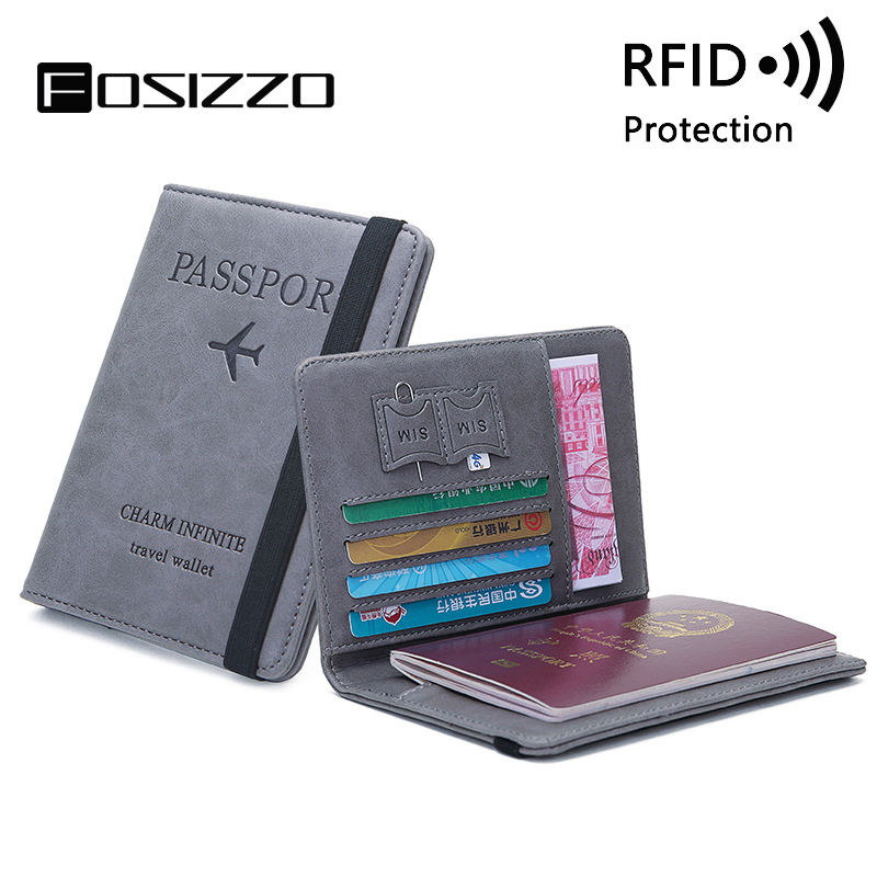 FOSIZZO Passport Cover Fashion RFID PU Leather Unisex Travel ID Credit Card Passport Cover Travel Accessories FS3010