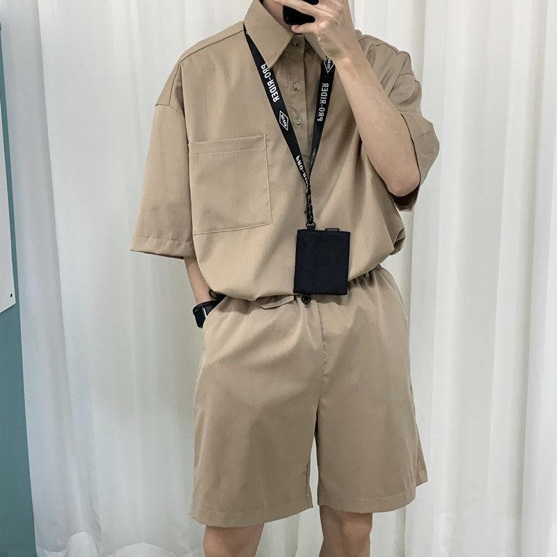 2020 Shirts+ Shorts Summer Men's Leisure Khaki/black Color Mens Sets Loose Tracksuit Short Sleeve Suit High-quality Clothes M-XL