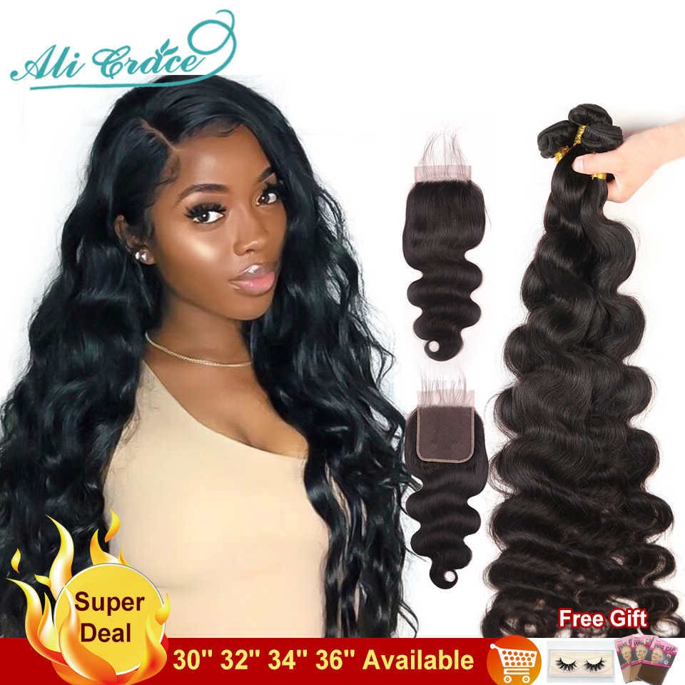36Inches Long Body Wave Bundles With Closure Ali Grace Hair Bundles With Lace Closure 10a Grade Human Hair With Closure