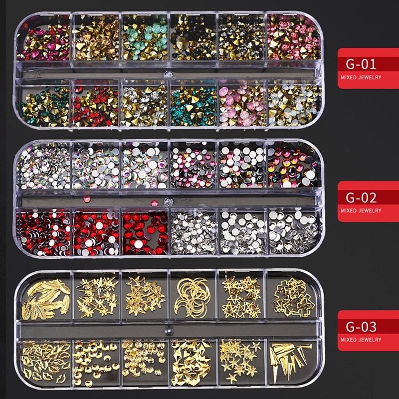 MORDDA Multi-size Nail Rhinestones 3D Crystal AB Glass Nail Stones Mixed Colors DIY Nail Art Decorations Gold Silver Rhinestone