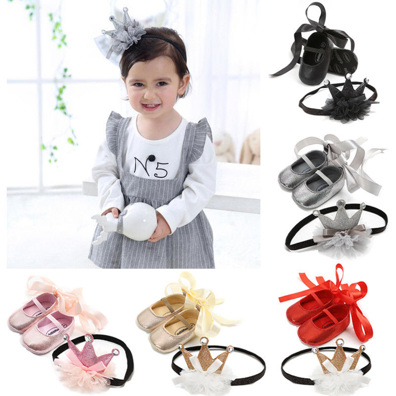Infants Baby Girls First Walkers Newborn Soft Sole Crib Shoes Pincess Headband+Cute Shoes 2Pcs Set  Anti-slip Toddler Sneakers
