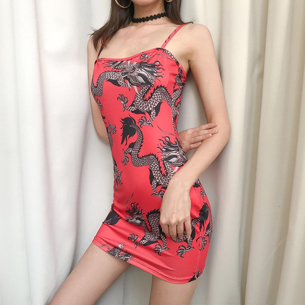 Hf9132a183a6342bb823a7ab4151fe92cf Harajuku Summer women's girls dress Fashion Women Sexy Off Shoulder Dragon Print Strap Casual Night-club Mini party Dress 2019