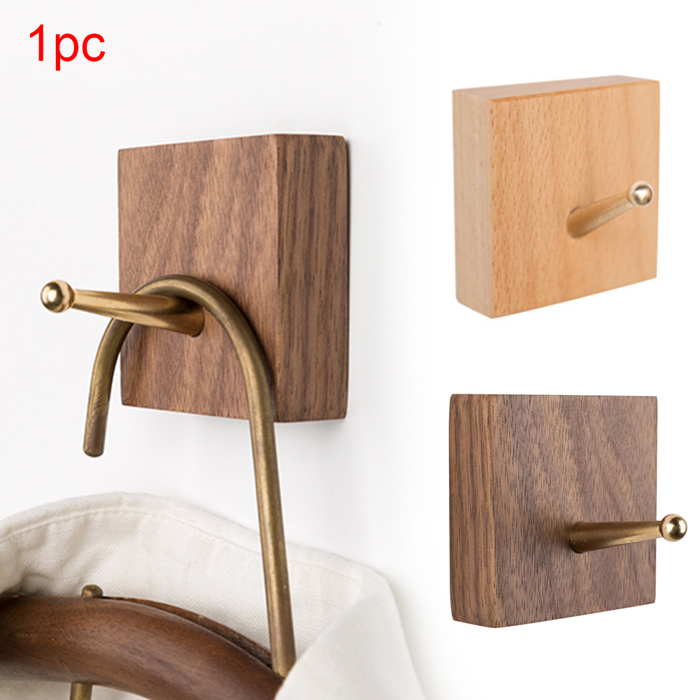 Vintage Hangers Wall Hook Seamless Door Back Shelf Natural Wood Square Screw Mount Clothes Storage Rack Dormitory Bathroom Home