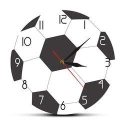 Bola de futebol impressão redonda acrílico relógio de parede silencioso não ticking moderno relógio de parede meninos sala esportes arte decoração amantes do futebol presente