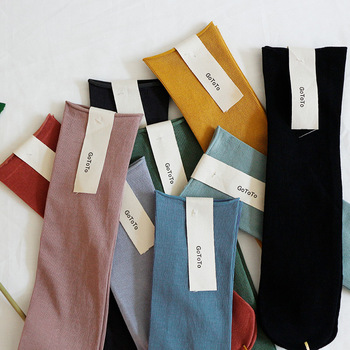 Solid Color Crew Socks Candy New Trendy Personality Cotton Wild Deodorant Comfortable Elasticity Breathable Women's - discount item  30% OFF Women's Socks & Hosiery