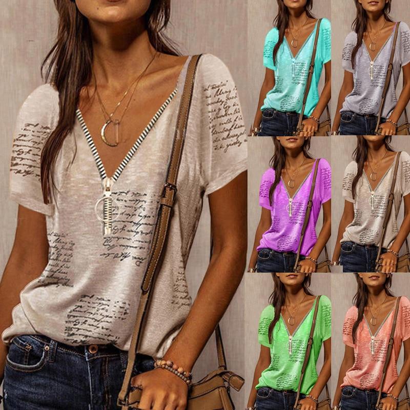 V Neck Short Sleeve Shirt Women's Summer Printed Zipper Casual Oversize Loose Retro Streetwear Clothes Top Tee Shirt Femme S-5XL