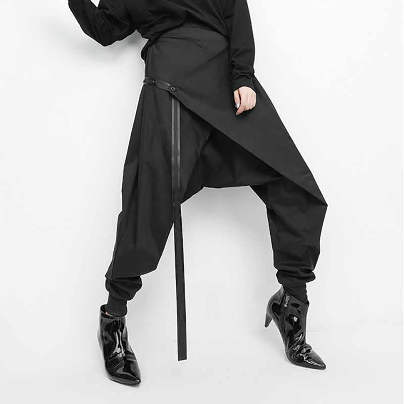 SexeMara 2019 Autumn New Elasticity Waist Irregular Patchwork Drawstring Folding Back Ladies Fashion Loose Harem Pants CPT016
