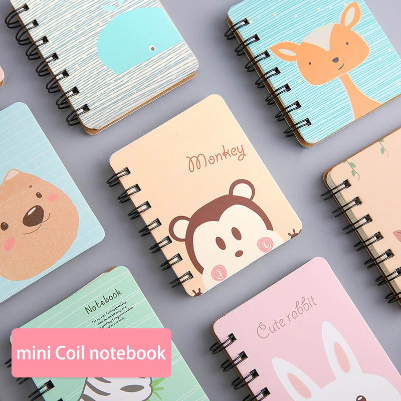 Kawaii Animal Coil Notebook Mini Diary Notepad Portable Loose-leaf Book Memo Pad Office School Stationery Supplies Girl Kid Gift