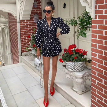 Chic Women Polka Dot Print Fashion Za Black Playsuits 2019 Summer Vintage Long Sleeve High Waist With Belt Short Jumpsuit Femme 4