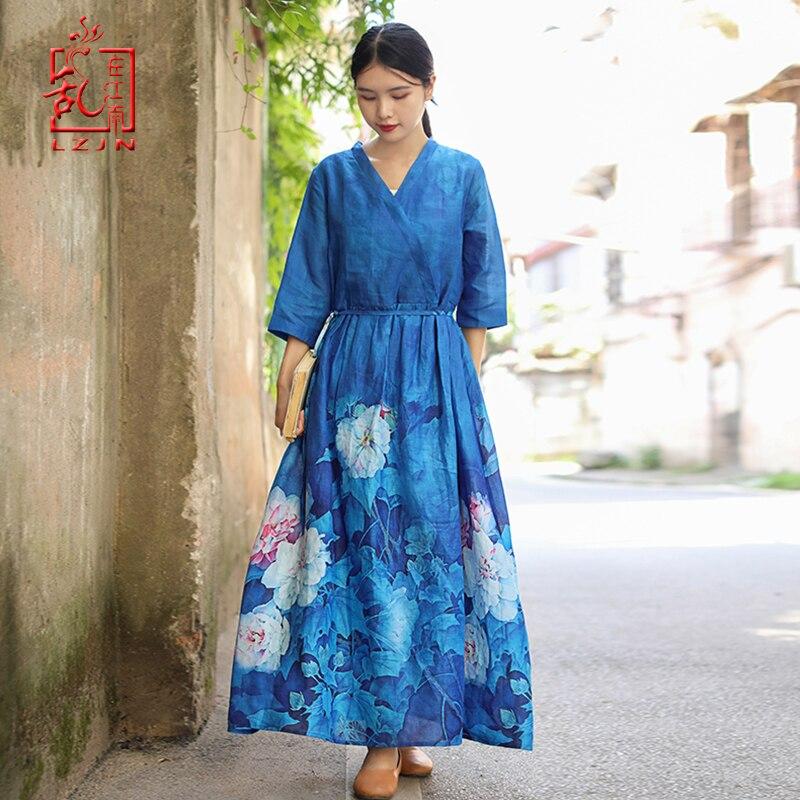 LZJN 2019 automne femmes élégantes imprimer profonde col en V lâche ceinture taille neuf Points manches longues Robe de soirée ethnique caftan Robe