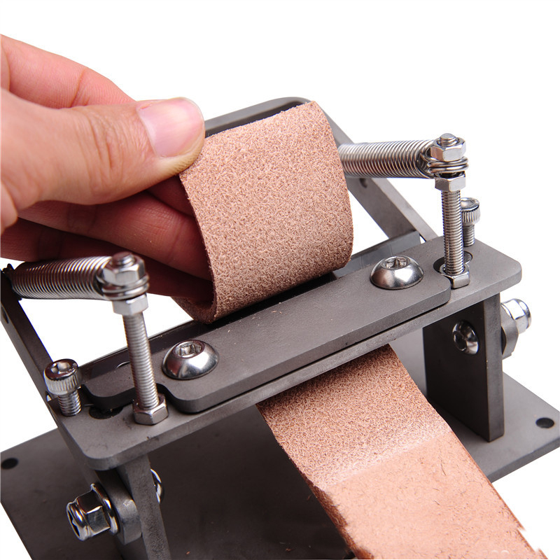 New Stainless Steel Craft Leather Strips Belt Manual Thinning Machine DIY Cutting Peeler Tools +8 Pcs Blades 10MM*18MM-4