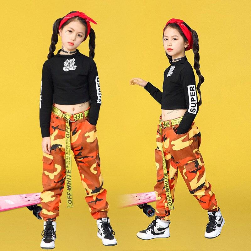 Jazz Dance Costumes For Girls Black Long Sleeve Tops Camouflage Pants Children Hip Hop Costume Kids Street  Dance Clothing